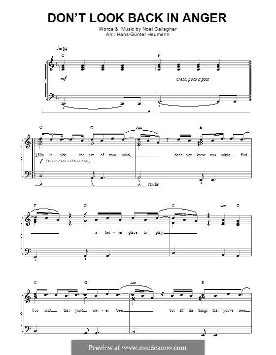 Don't Look Back in Anger (Oasis): Für Stimme und Klavier by Noel Gallagher