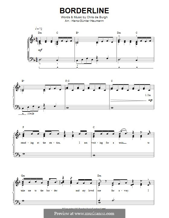 Borderline: Für Stimme und Klavier by Chris de Burgh