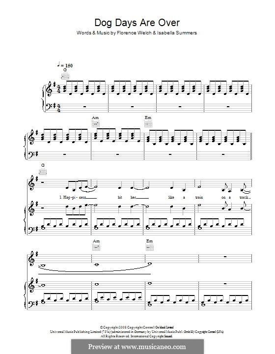 Dog Days are Over: Für Stimme und Klavier (oder Gitarre) by Florence Welch, Isabella Summers