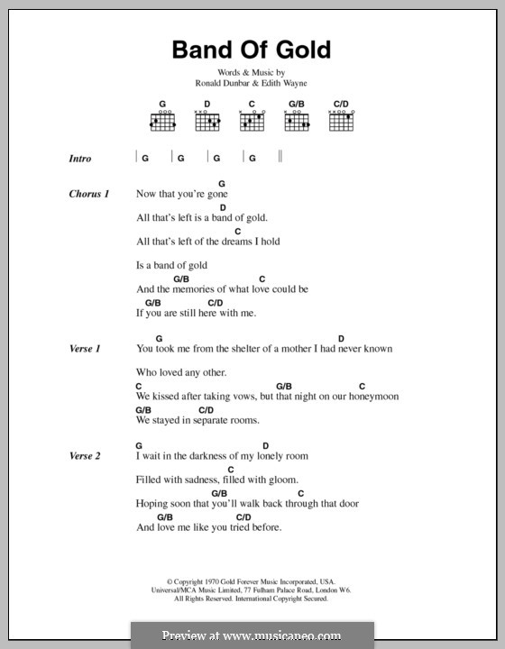 Band of Gold (Freda Payne): Text und Akkorde by Edith Wayne, Ronald Dunbar