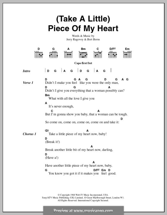 (Take a Little) Piece of My Heart: Lyrics and chords (Erma Franklin) by Bert Berns, Jerry Ragovoy