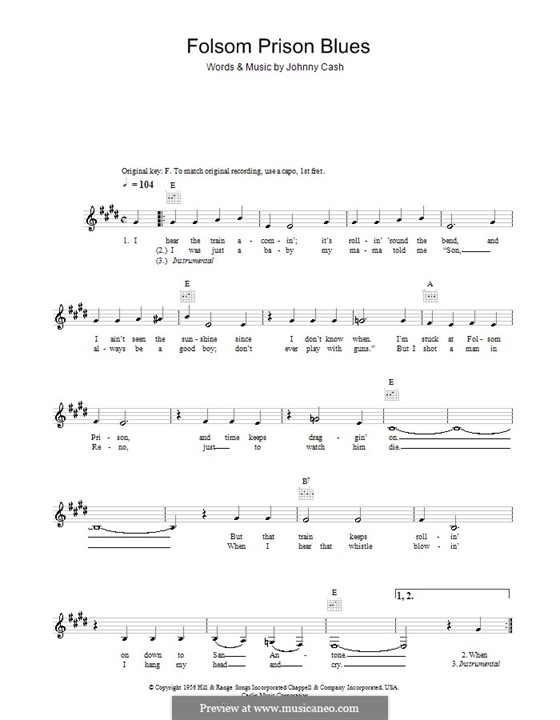 Folsom Prison Blues: Melodie, Text und Akkorde by Johnny Cash