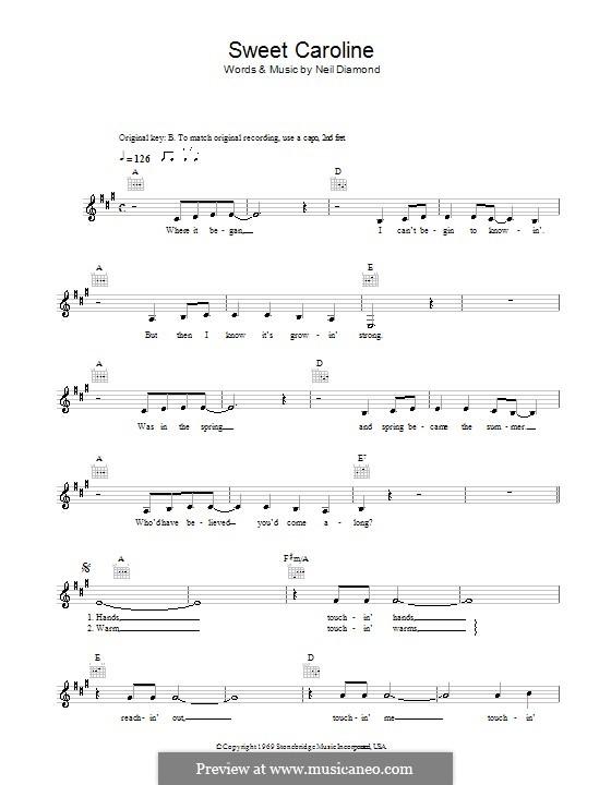 Sweet Caroline: Melodie, Text und Akkorde by Neil Diamond