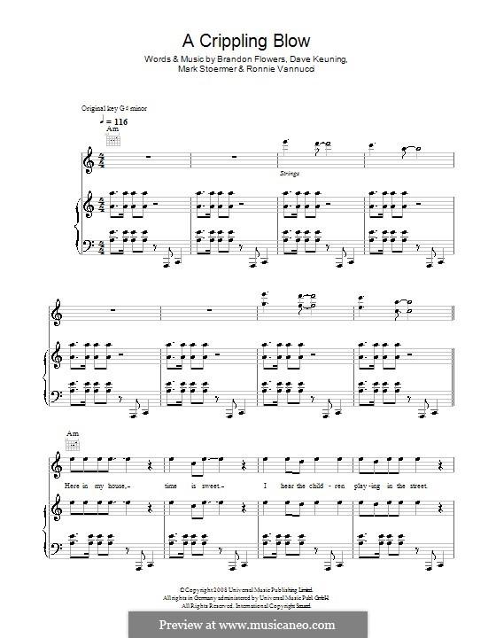 A Crippling Blow (The Killers): Für Stimme mit Klavier oder Gitarre by Brandon Flowers, Dave Keuning, Mark Stoermer, Ronnie Vannucci