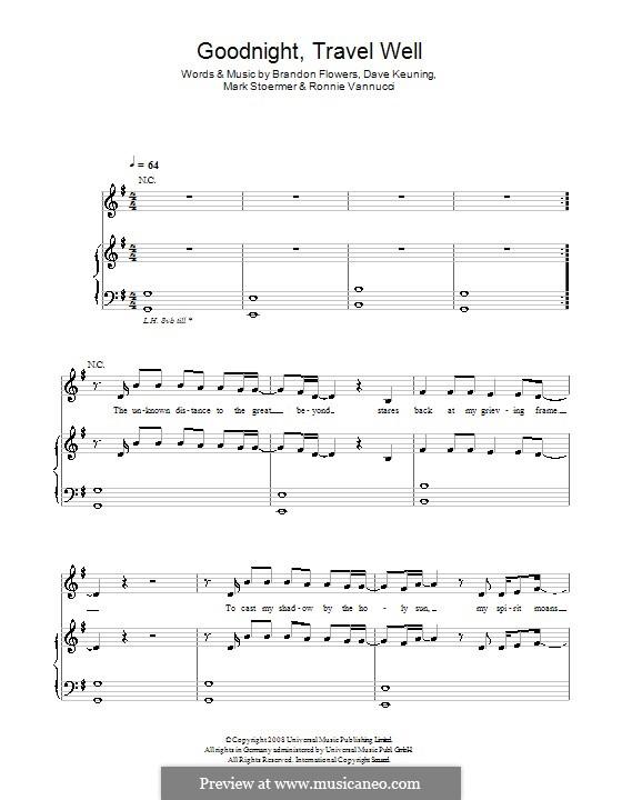Goodnight Travel Well (The Killers): Für Stimme mit Klavier oder Gitarre by Brandon Flowers, Dave Keuning, Mark Stoermer, Ronnie Vannucci