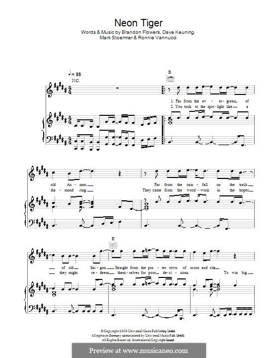 Neon Tiger (The Killers): Für Stimme mit Klavier oder Gitarre by Brandon Flowers, Dave Keuning, Mark Stoermer, Ronnie Vannucci
