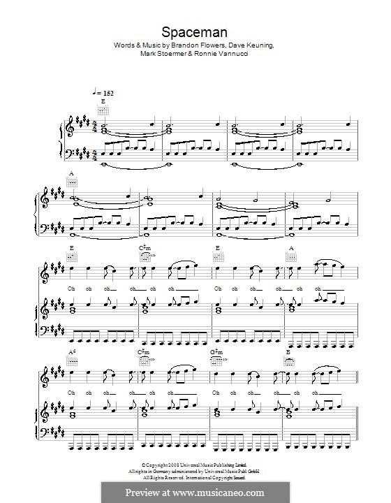 Spaceman (The Killers): Für Stimme mit Klavier oder Gitarre by Brandon Flowers, Dave Keuning, Mark Stoermer, Ronnie Vannucci