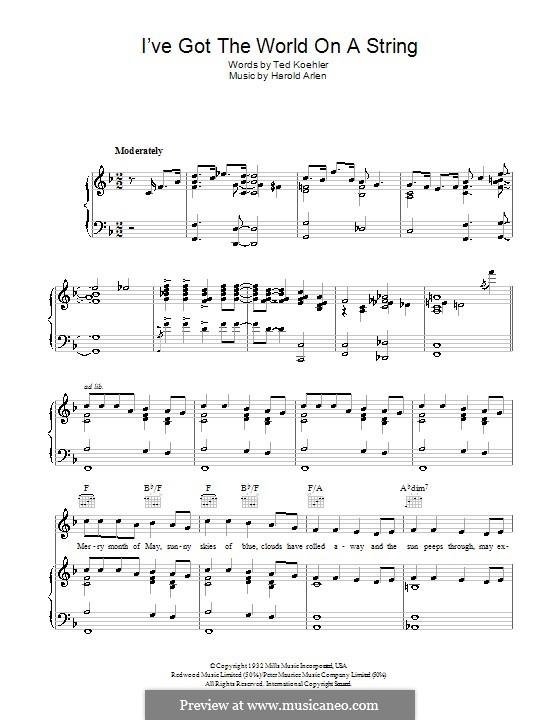 I've Got the World on a String: Für Stimme mit Klavier oder Gitarre (Bing Crosby) by Harold Arlen