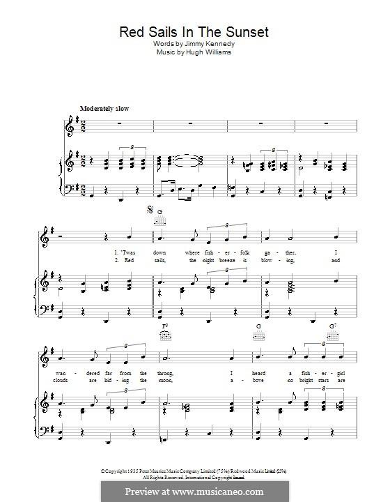Red Sails in the Sunset (Fats Domino): Für Stimme und Klavier (oder Gitarre) by Hugh Williams