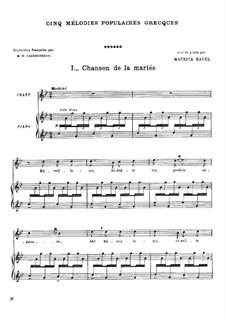 Cinq mélodies populaires grecques, M.A 9, 10, 4, 5, 11: Vollständiger Satz by Maurice Ravel