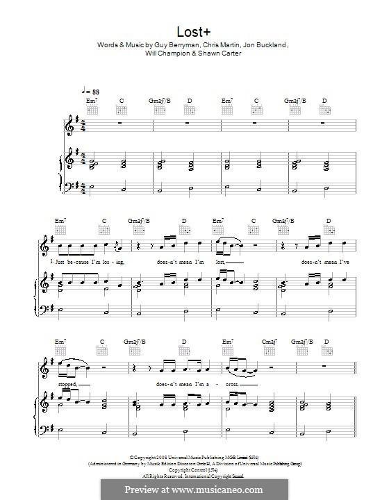 Lost+ (Coldplay feat. Jay-Z): Für Stimme und Klavier (oder Gitarre) by Chris Martin, Guy Berryman, Jonny Buckland, Jay-Z, Will Champion