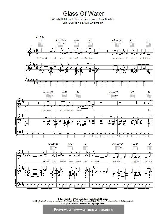 Glass of Water (Coldplay): Für Stimme und Klavier (oder Gitarre) by Chris Martin, Guy Berryman, Jonny Buckland, Will Champion