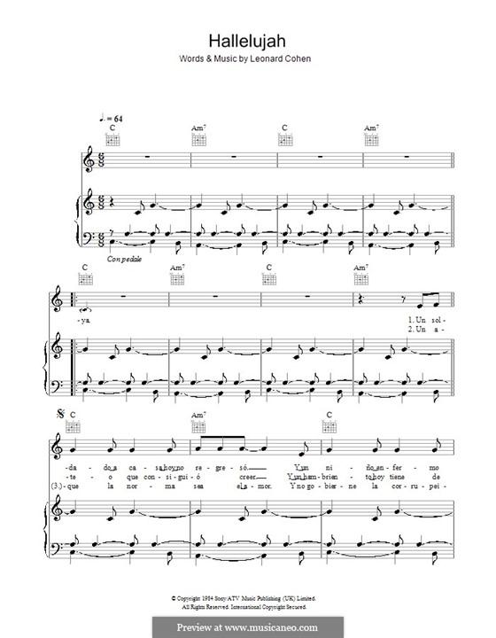 Hallelujah: Für Stimme und Klavier (oder Gitarre) by Leonard Cohen