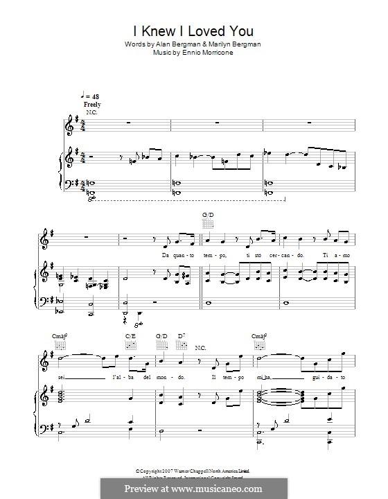 I Knew I Loved You (L'Alba Del Mondo): Für Stimme und Klavier (oder Gitarre) by Ennio Morricone