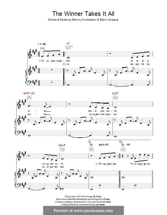 The Winner Takes it All (ABBA): Für Stimme mit Klavier oder Gitarre (Il Divo) by Benny Andersson, Björn Ulvaeus