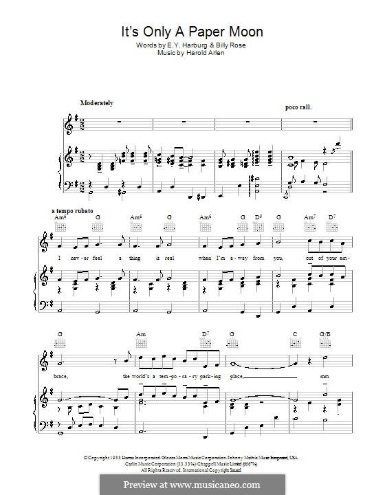 It's Only a Paper Moon: Für Stimme und Klavier (oder Gitarre) by Harold Arlen