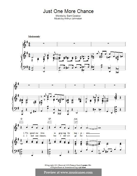 Just One More Chance (Bing Crosby): Für Stimme und Klavier (oder Gitarre) by Arthur Johnston