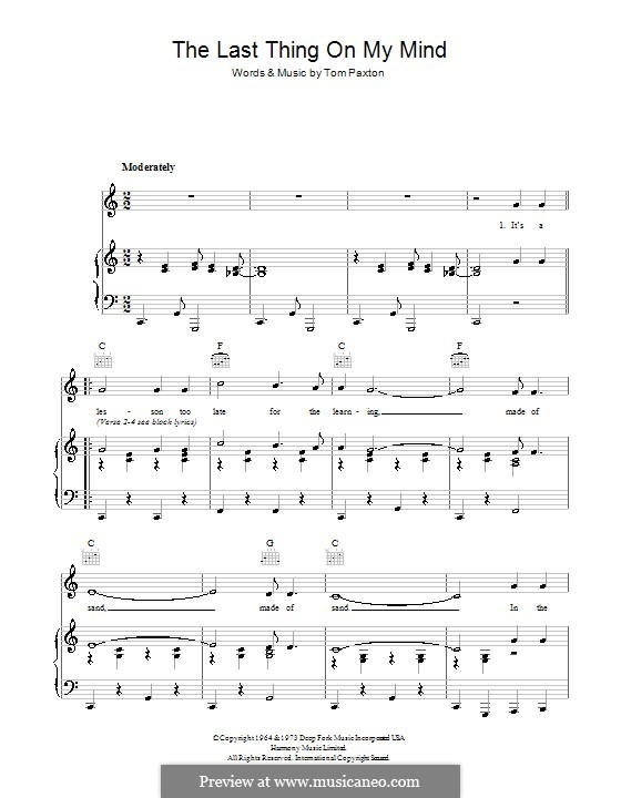 The Last Thing on My Mind: Für Stimme und Klavier (oder Gitarre) by Tom Paxton