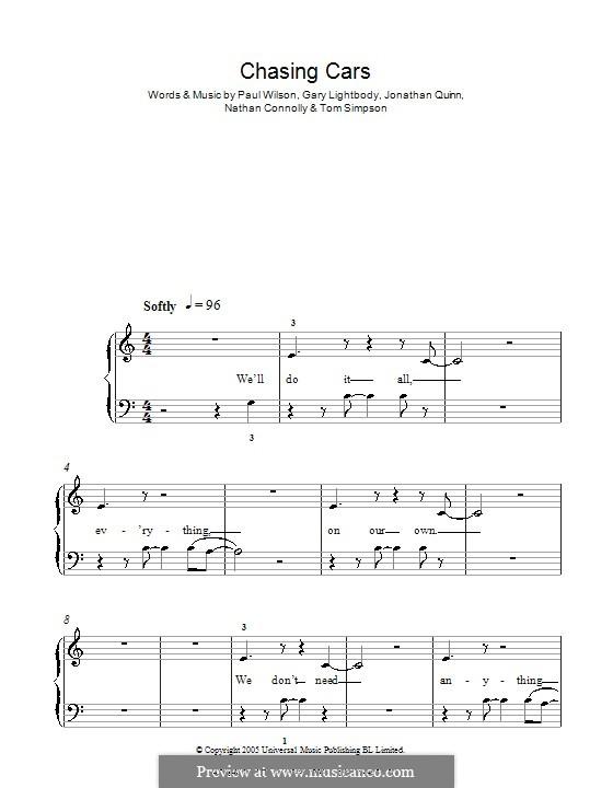 Chasing Cars (Snow Patrol): Für Klavier, leicht by Gary Lightbody, Jonathan Quinn, Nathan Connolly, Paul Wilson, Tom Simpson