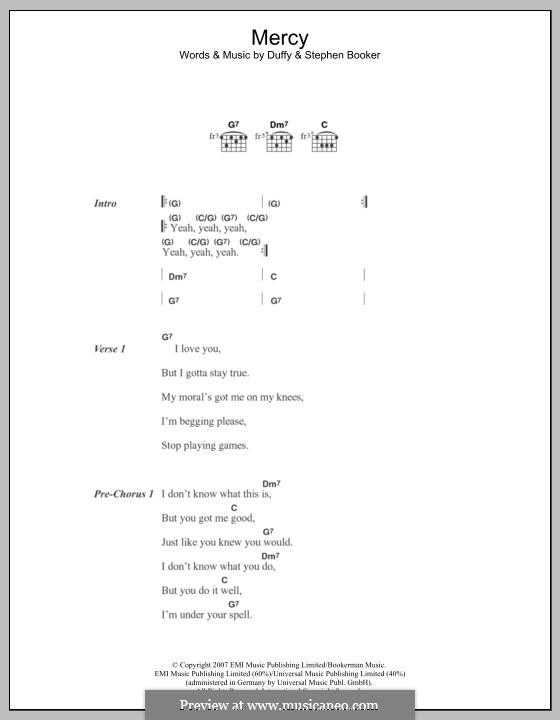 Mercy (Duffy): Text und Akkorde by Aimee Duffy, Steve Booker