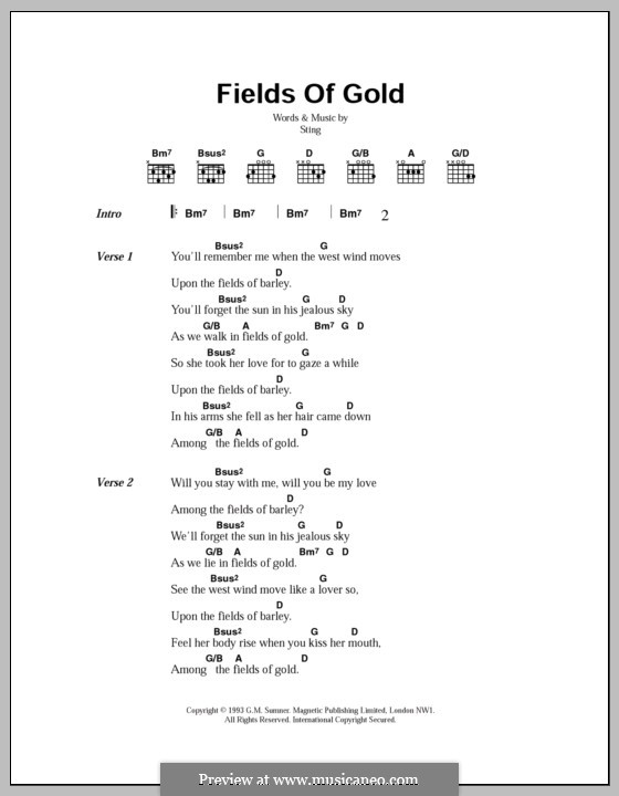 Fields of Gold: Text und Akkorde by Sting