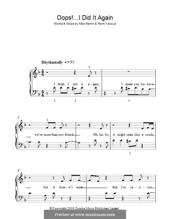 Oops! I Did It Again (Britney Spears): Für Klavier, leicht by Max Martin, Rami Yacoub