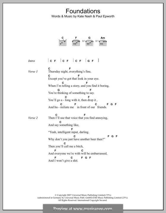 Foundations: Texte und Akkorde by Kate Nash, Paul Epworth