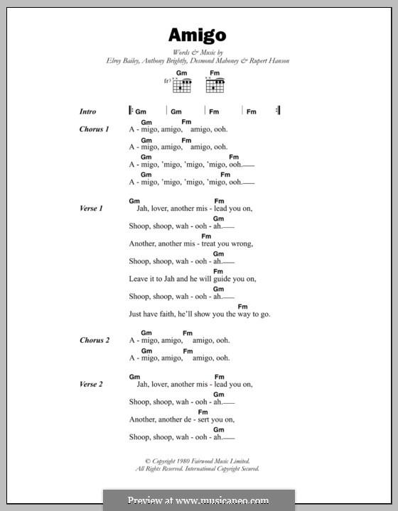 Amigo (Black Slate): Text und Akkorde by Anthony Brightly, Desmond Mahoney, Elroy Bailey, Rupert Hanson