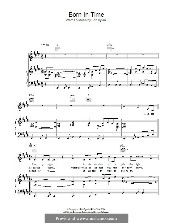 Born in Time: Für Stimme und Klavier (oder Gitarre) by Bob Dylan