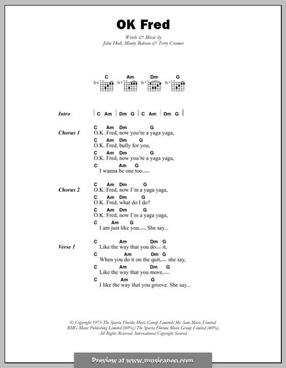 OK Fred (Errol Dunkley): Text und Akkorde by John Holt, Monty Babson, Terry Cramer