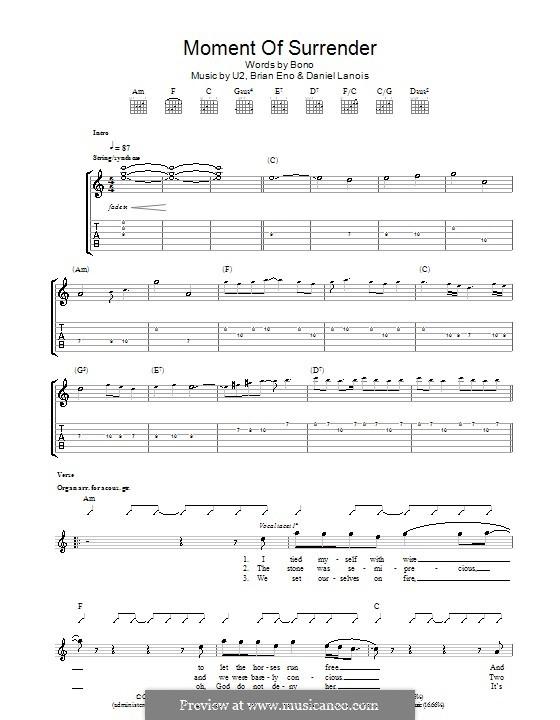 Moment of Surrender (U2): Für Gitarre mit Tabulatur by Brian Eno, Daniel Lanois