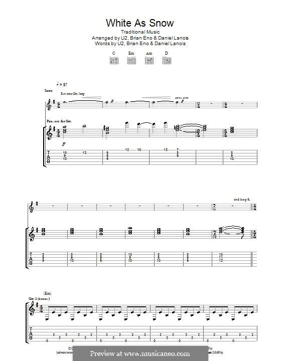 White As Snow: Für Gitarre mit Tabulatur by folklore