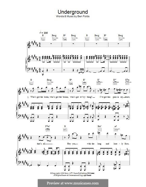 Underground (Ben Folds Five): Für Stimme und Klavier (oder Gitarre) by Ben Folds
