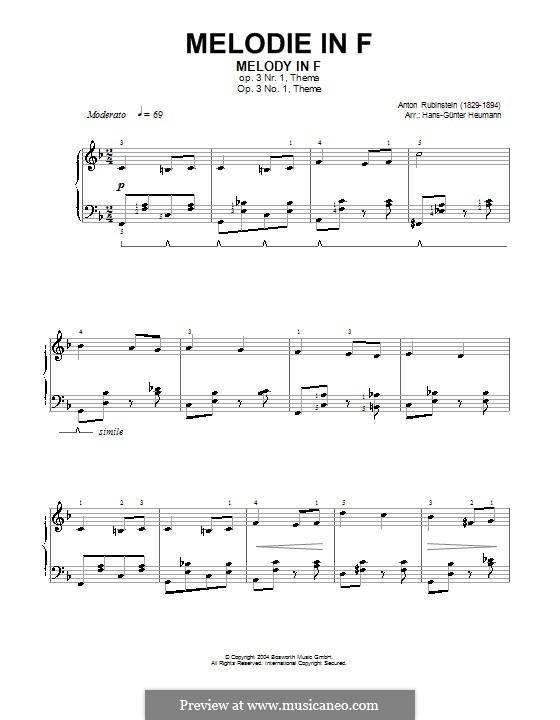 Zwei Melodien, Op.3: Melodie Nr.1 in F-Dur (Noten von hoher Qualität) by Anton Rubinstein