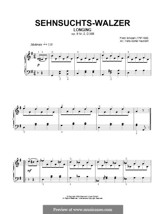 Sehnsucht, D.365 Op.9: Für Klavier by Franz Schubert