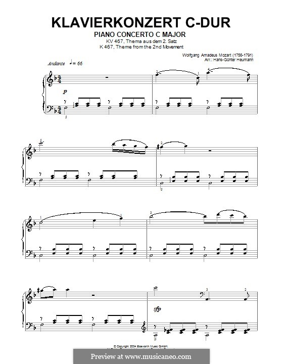 Konzert für Klavier und Orchester Nr.21 in C-Dur, K.467: Teil II (Fragment). Version für Klavier by Wolfgang Amadeus Mozart