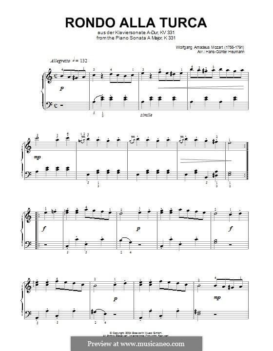 Türkisches Rondo: Easy version by Wolfgang Amadeus Mozart
