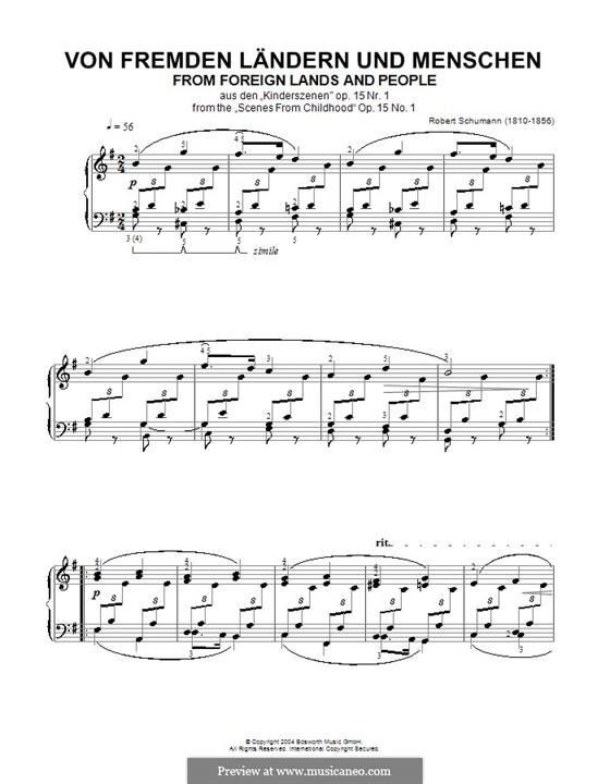 Nr.1 Von fremden Ländern und Menschen: Für Klavier by Robert Schumann