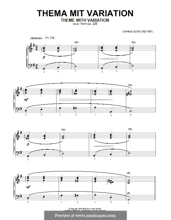 Thema mit Variation, Op.228: Thema mit Variation by Cornelius Gurlitt