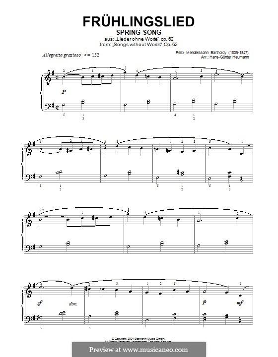 Lieder ohne Worte, Op.62: Nr.6 Frühlingslied (G-Dur) by Felix Mendelssohn-Bartholdy