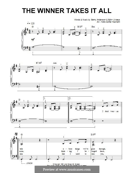 The Winner Takes it All (ABBA): Für Stimme und Klavier by Benny Andersson, Björn Ulvaeus