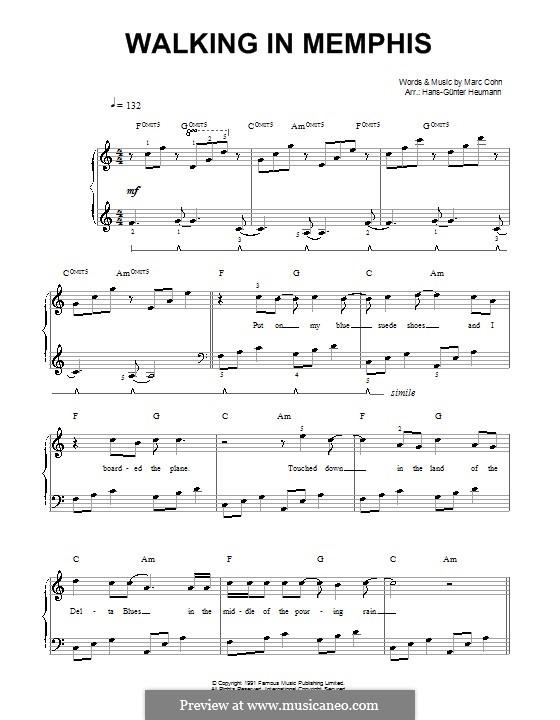 Walking in Memphis: Für Stimme und Klavier by Marc Cohn