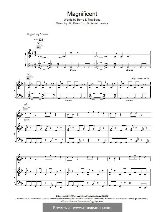 Magnificent: Für Stimme und Klavier (oder Gitarre) by U2, Brian Eno, Daniel Lanois
