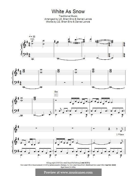 White As Snow: Für Stimme und Klavier (oder Gitarre) by folklore