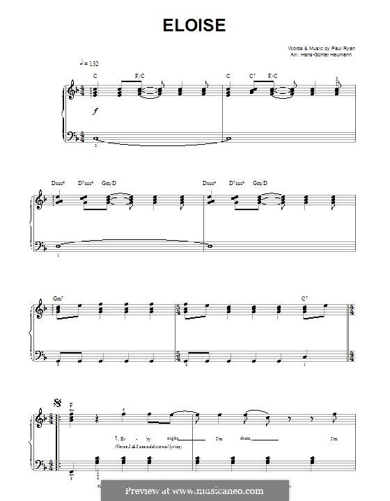 Eloise: Für Stimme und Klavier by Paul Ryan