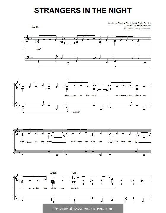 Strangers in the Night (Frank Sinatra): Für Stimme und Klavier by Bert Kaempfert