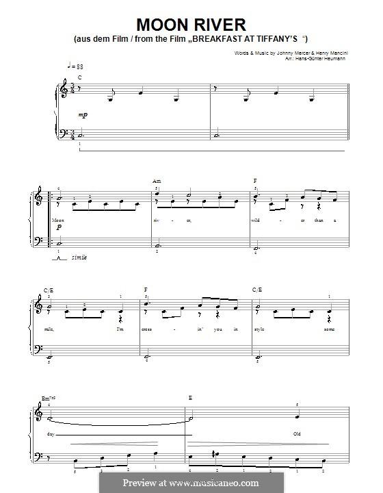 Moon River (from Breakfast at Tiffany's): Für Stimme und Klavier by Henry Mancini