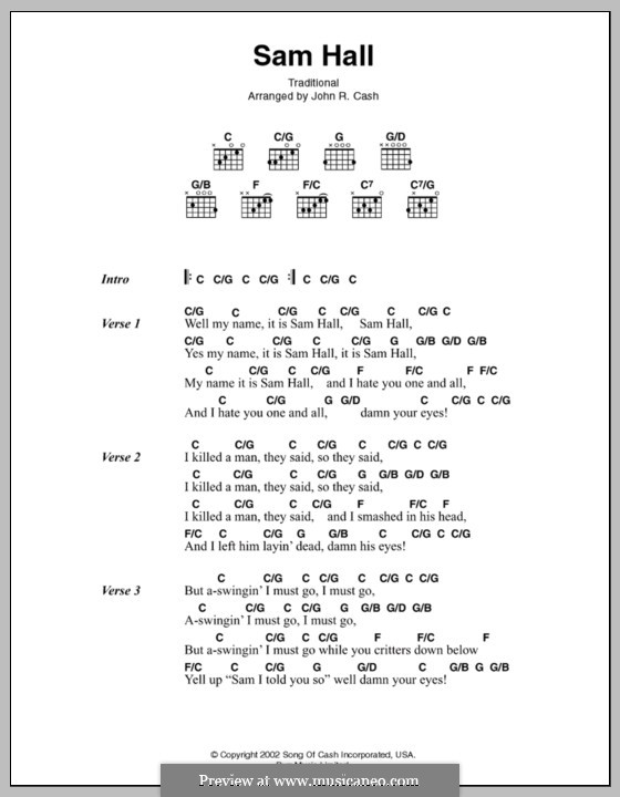 Sam Hall: Text und Akkorde by Johnny Cash