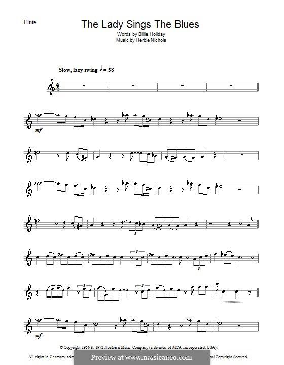 The Lady Sings the Blues (Billie Holiday): Für Flöte by Herbie Nichols