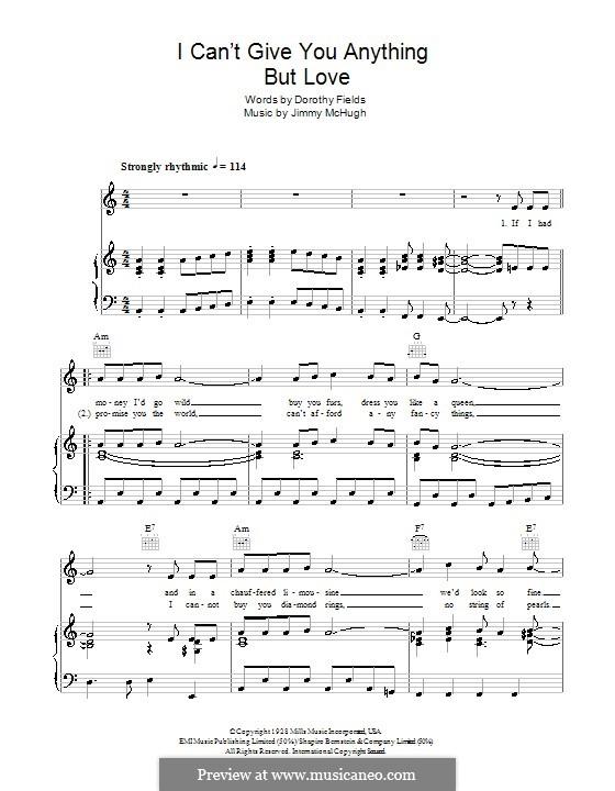 I Can't Give You Anything But Love: Für Stimme mit Klavier oder Gitarre (The Stylistics) by Jimmy McHugh